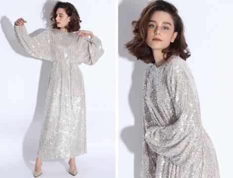 Suud Collection 2019 İlkbahar Yaz Payetli Balon Kol Elbise