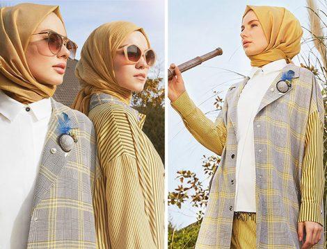 Zühre Giyim 2019 Çizgili ve Ekose Desen Ceket