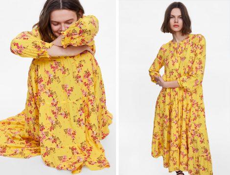 Zara 2019 Sarı Çiçek Desenli Elbise