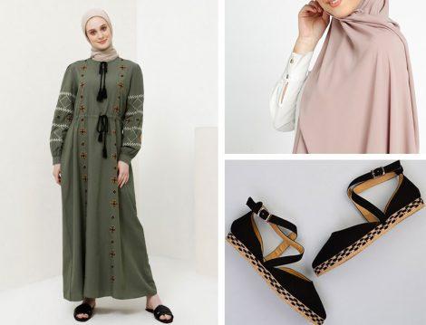 Benin Nakışlı Elbise & Tuva Medine İpeği Şal & Bambi Espadril