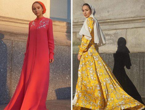 Carolina Herrera Kristal Taşlı İpek Elbise ve Sarı Desenli Elbise Modelleri