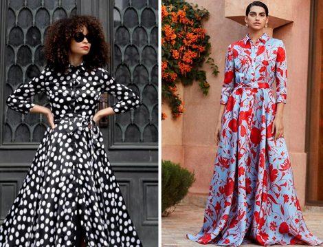 Carolina Herrera Puantiye ve Çiçek Desenli Elbise Modelleri
