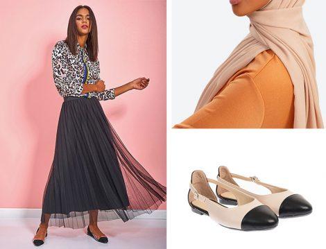 Eda Atalay Pileli Etek & Halima Şal & Shoestime Babet