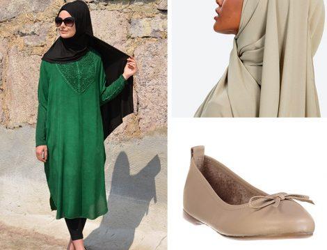 Henna Elısa Tunik & Halima Krep Şal & Trendyolmilla Bej Babet