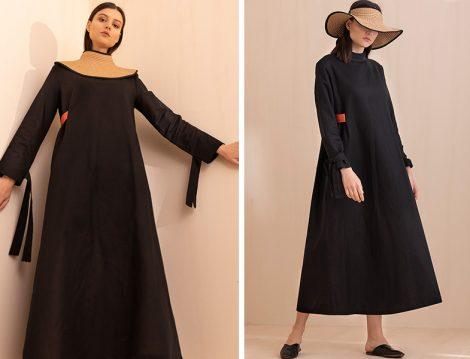 Keten Elbise & Deri Terlik & Hasır Çanta