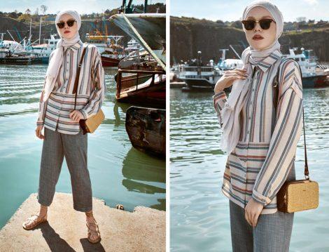 Nihan Giyim 2019 Yaz Çizgili Tunik Modelleri