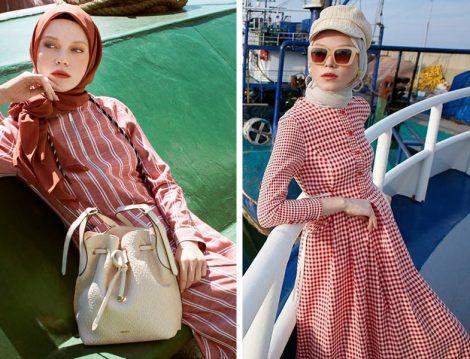 Nihan Giyim 2019 Yaz Çizgili ve Pötikare Desenli Elbise Modelleri