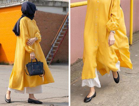 Zeynep Babuşçu Çizgili Pantolon Sarı Gömlek