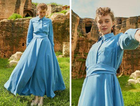 Armağan Giyim Mavi Çizgili Elbise