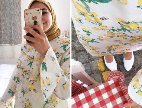 Büşra Erdoğan Toraman Limon Desenli Elbise