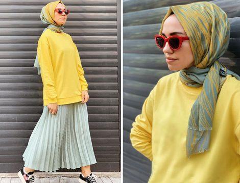 DeFacto Sarı Sweatshirt ve Qooq Store Piliseli Etek