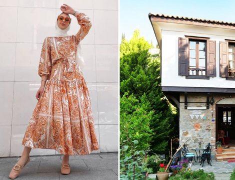 Etnik Desenli Elbiselerle Tesettür Kombinler