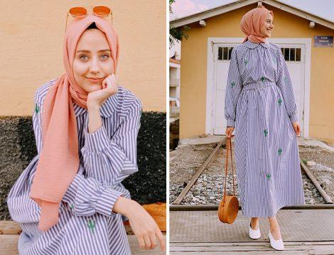 Fahhar Design Kaktüs Desen Detaylı Çizgili Elbise