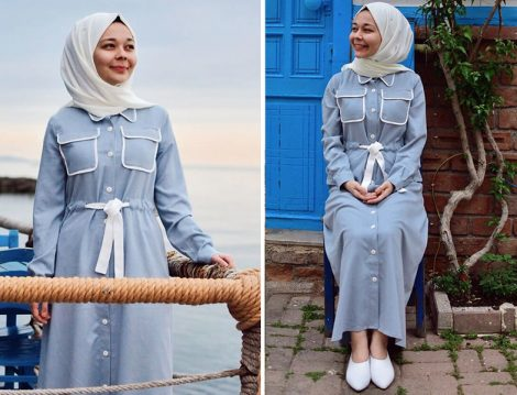 Mavi Elbise İle Yazlık Tesettür Kombinler