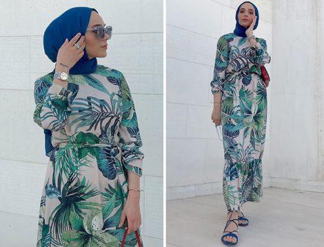 Mavi Yaprak Desenli Elbise İle Tesettür Sahil Kombinleri