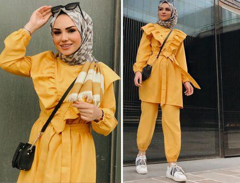 Sarı Fırfır Detaylı Tunik-Pantolon İkili Takım Kombinleri