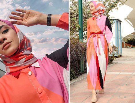 Sena Sever Geometrik Desenli Elbise ve Zikzak Desenli Şal Kombini