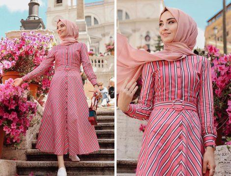 Vesna Design Çizgili Elbise