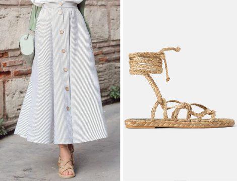 Çizgili Kloş Eteklerle Örgü Ayakkabı