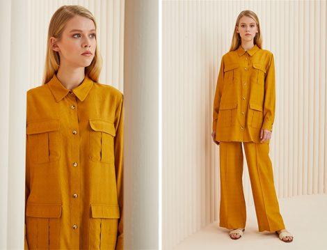 Özsarıçam Sarı Pantolon Gömlek Takım