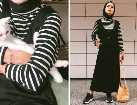 Şüheda Türkoğlu Çizgili Tişört ve Salopet Elbise Kombini