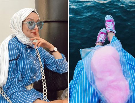 Şüheda Türkoğlu Mavi – Beyaz Çizgili Elbise Kombini