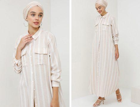 Benin Bej Cepli Gömlek Elbise