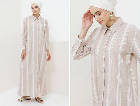 Benin Camel Doğal Kumaşlı Düğmeli Elbise