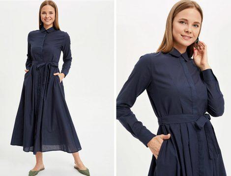 DeFacto Lacivert Gömlek Elbise