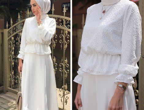 Dilara Nazan Ertan Güpür Crop Bluz Kloş Etek Takım