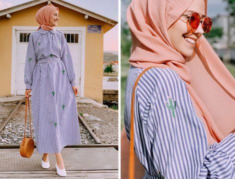 Fahhar Design 2019 Çizgili Elbise