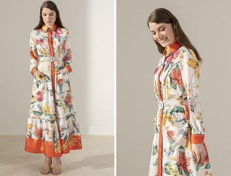 Kadriye Baştürk Floral Desenli Biye Detaylı Elbise