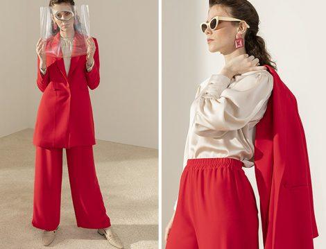 Kadriye Baştürk Kırmızı Pantolon Ceket Takım