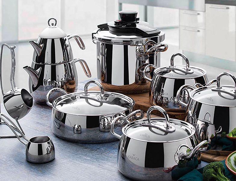 Karaca Çaydanlık - Cezve - Düdüklü ve Çelik Tencere Seti