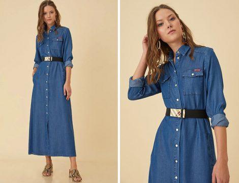 Kayra Çıtçıtlı Denim Elbise