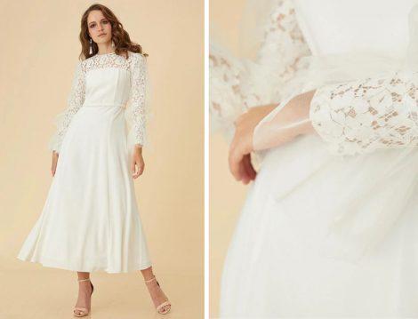 Kayra Beyaz Dantel ve Tül Detaylı Elbise