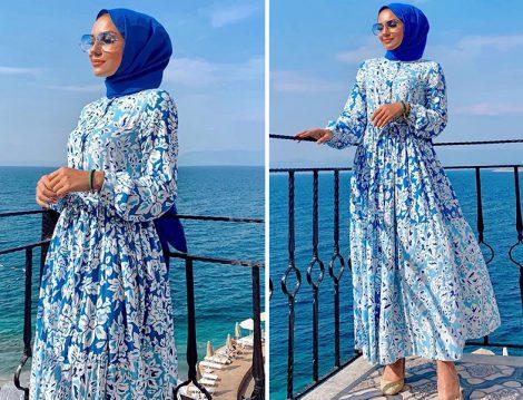 Mavi Çiçekli Elbise