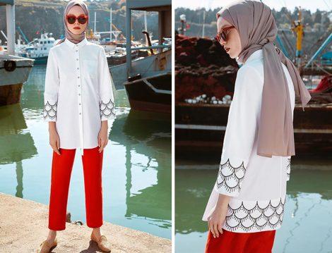 Nihan Beyaz Gömlek-Kırmızı Pantolon
