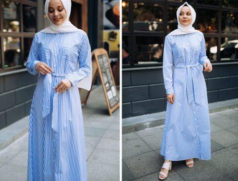 PASTELASTORE Açık Mavi Düğmeli Pamuklu Elbise