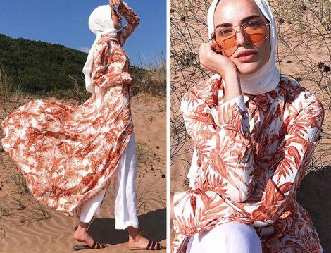 Refka Somon Doğal Kumaşlı Gizli Düğmeli Elbise