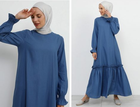 Refka Volanlı Pamuklu Mavi Elbise