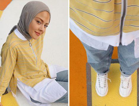 Touche Sarı-Beyaz Tunik