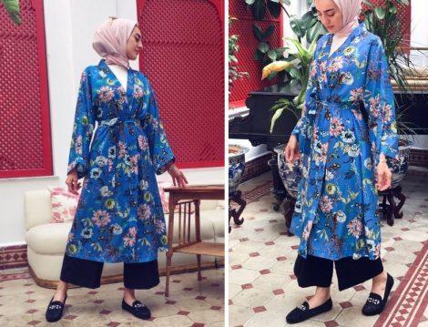 BRTCdesign Mavi Çiçekli Kimono