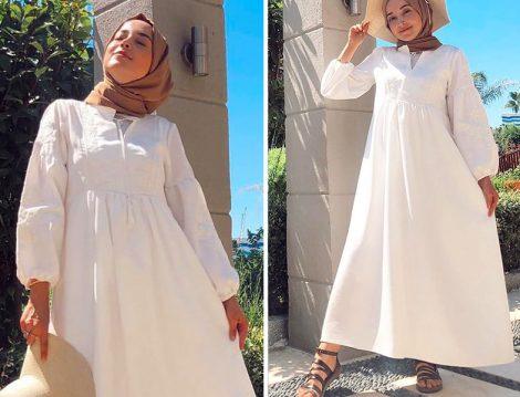 Gül Aksa Butik Beyaz Zara Elbise