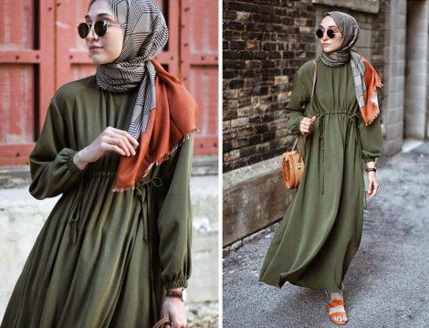 HE-QA Haki Beli Büzgülü Elbise