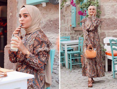Refka Fırfır Detaylı Etnik Desenli Elbise