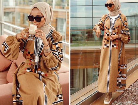 Roman Püskül Detaylı Etnik Desen Elbise