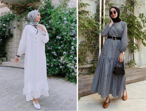 Shesea Official Beyaz Elbise - Fahhar Design Pötikare Desenli Elbise