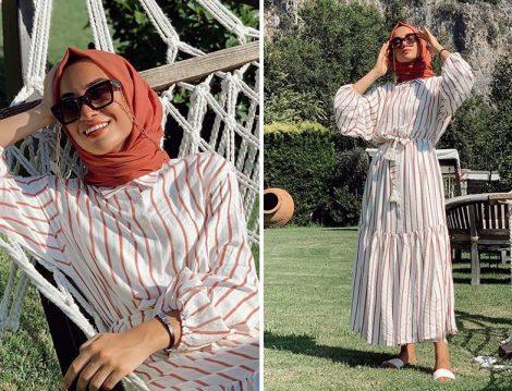 Suud Collection Çizgili Elbise