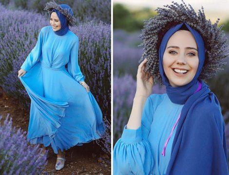Tuay Etek&Bluz İkili Takım - Maviden Scarf Şal